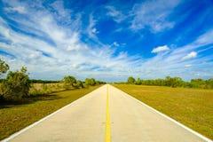 Florida Everglades highway. Rural two lane highway in the Florida Everglades royalty free stock image