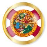 Florida Flag Button. Florida state flag button with a gold metal circular border over a white background Royalty Free Stock Photos