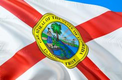 Florida flag. 3D Waving USA state flag design. The national US symbol of Florida state, 3D rendering. National colors and National stock photo