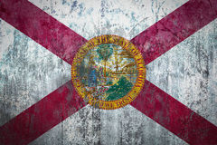 Florida Flag painted on a Wall. Ddistressed Painting of a Flag on an old Wall Stock Photo