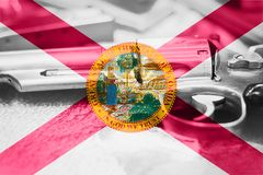 Florida flag U.S. state Gun Control USA. United States Gun Law. S Stock Images