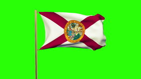 Florida flag waving in the wind. Green screen. Alpha matte. Loops animation stock footage