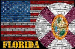 Florida-Flagge auf dem USA-Flaggenhintergrund Stockfoto