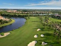 Florida Golf Course Flyover. Aerial photograph of a Florida golf course Royalty Free Stock Photos
