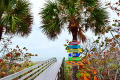 Florida Gulf Coast. Colorful display of signs hanging on palm tree next to walkway boardwalk to the beach to remind tourists and visitors not to litter or leave Stock Photos