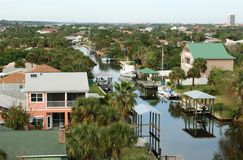 Florida Homes. Photo of waterfront homes in Florida, USA Royalty Free Stock Photography