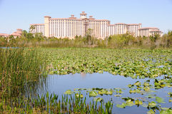 Florida Hotel near Marshland and Pond Royalty Free Stock Photo