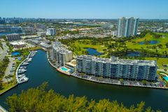 Florida housing waterfront with marina dockage. Florida residential real estate Hallandale Beach Florida shot with an aerial drone stock photography