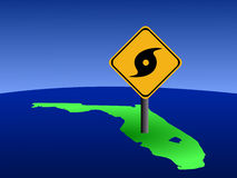 Florida with hurricane sign. Hurricane warning sign on Florida map illustration vector illustration