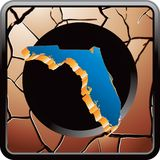 Florida icon on bronze cracked web button Royalty Free Stock Photography