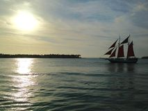 Florida Key West solnedgång från Mallory Square 3 Arkivbild