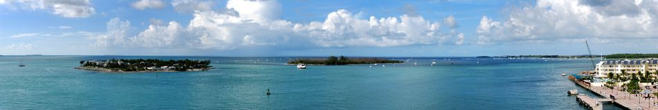 Florida Keys. The panoramic view of Key West and surrounding islands (Florida royalty free stock image