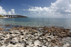 Florida Keys Beach Scenic. Florida Keys Beach, Sand, Sea and Bridge scenic royalty free stock image