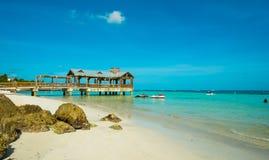 Florida Keys. Beautiful Florida Keys beach with covered pier along the shoreline stock images