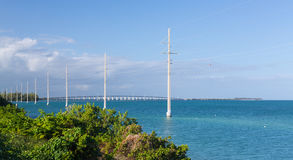 Florida Keys bridge and power pylons Royalty Free Stock Photography