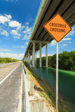 Florida Keys Highway. Florida Keys US1 Highway bridge with crocodile crossing sign stock photography