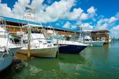 Florida Keys Marina. Islamorada, Florida USA - September 18, 2018: The Whale Harbor Marina is a popular tourist destination for the rental of yachts for fishing royalty free stock photography