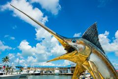 Florida Keys Marina. Islamorada, Florida USA - September 18, 2018: The Whale Harbor Marina is a popular tourist destination for the rental of yachts for fishing stock photography