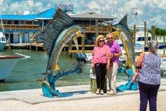 Florida Keys Marina. Islamorada, Florida USA - September 18, 2018: The Whale Harbor Marina is a popular tourist destination for the rental of yachts for fishing stock photo