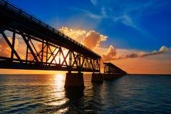 Florida Keys old bridge sunset at Bahia Honda Stock Image