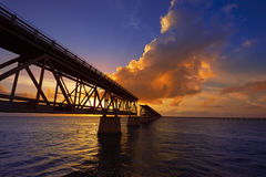 Florida Keys old bridge sunset at Bahia Honda Royalty Free Stock Images