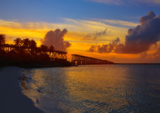 Florida Keys old bridge sunset at Bahia Honda Stock Photography