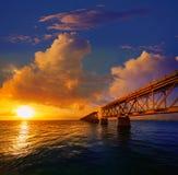 Florida Keys old bridge sunset at Bahia Honda Royalty Free Stock Photography