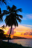 Florida Keys old bridge sunset at Bahia Honda Stock Photo