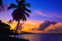 Florida Keys old bridge sunset at Bahia Honda Stock Photos