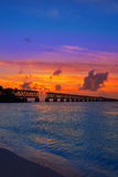 Florida Keys old bridge sunset at Bahia Honda Stock Photo