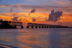 Florida Keys old bridge sunset at Bahia Honda Stock Photography