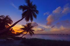 Florida Keys old bridge sunset at Bahia Honda Stock Images