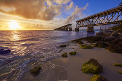 Florida Keys old bridge sunset at Bahia Honda Royalty Free Stock Image