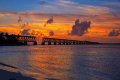 Florida Keys old bridge sunset at Bahia Honda Stock Image