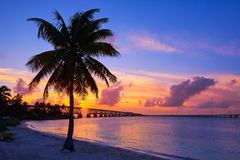 Florida Keys old bridge sunset at Bahia Honda Royalty Free Stock Photos