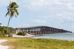 Florida Keys rail bridge and heritage trail. Old Bahia Honda rail bridge and heritage trail in Florida Keys by Route 1 Overseas Highway Stock Photo