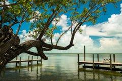 Florida Keys. Scenic view of the Florida Keys along a small boat dock stock photography
