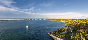 Florida Keys. View of Overseas Highway from historic Rail Bridge at Bahia Honda state park in Florida Keys, USA Royalty Free Stock Photography