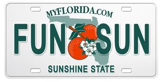 Florida License Plate with Text Fun and Sun vector illustration