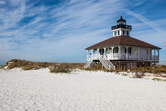 Florida lighthouse with dunes and beach. Florida lighthouse with dunes, beach and clouds in blue sky Royalty Free Stock Photography