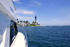 Florida Lighthouse Pompano Beach boats Royalty Free Stock Photos