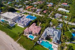 Aerial drone image of waterfromt mansions in Boynton Beach FL. Florida mansions on the beach aerial view shot with a drone Stock Photo