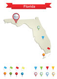 Florida Map. Showing capital , whit gps pin icons royalty free illustration