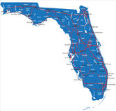 Florida map. Highly detailed vector map of Florida with county names,main cities and roads Stock Image