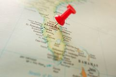Florida map. Closeup of a map of Florida with push pin near Orlando royalty free stock photo