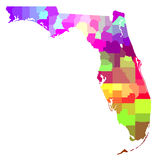Florida Map. Colorful map of Florida FL with its detailed counties royalty free stock image