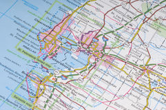 Florida map detail. A detail image of sunshine state florida guide map, part of tampa bay area stock image