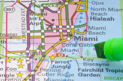 Florida map detail. A detail image of sunshine state florida guide map, detailed Miami area with a text marker showing on it stock image