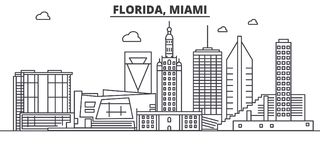Florida Miami architecture line skyline illustration. Linear vector cityscape with famous landmarks, city sights, design Stock Image