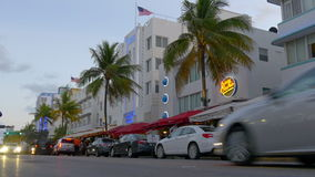 Florida miami south beach ocean drive street traffic 4k usa stock footage